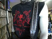 ASPHYX ...LEATHER MIX SPIKES & STUDS GUITAR STRAP ...(MDLS0060)