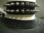 (MORBID).....LEATHER SPIKED UNISEX CHOKER (MDLC0082)