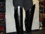 SATYRICON ...PLAIN BLACK LEATHER SHIN GUARDS  (MDLSG0118)