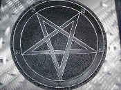 LEATHER CARVED PENTAGRAM ,,(black metal)   0011