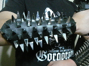 VOIVOD ..UNISEX PYRAMID SPIKE LEATHER GAUNTLET (MDLUG0146)