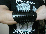 (MEATHOOK).Small Black Chrome Spikes Leather Gauntlet (MDLG0239)