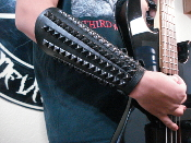 DESINCARNATE ...UNISEX BLACK STUDDED LEATHER GAUNTLET(MDLUG0287)