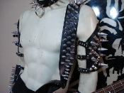 SATYR ...LEATHER BULLDOG SCREW SPIKED GUITAR STRAP.   (MDLS0289)