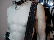 (DEMONAZ) BUCKLE UP! LEATHER MIXED SPIKED GUITAR STRAP(MDLS0291)