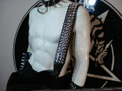 SAMOTH ...LEATHER STUDDED GUITAR STRAP. BUCKLE UP  (MDLS0292)