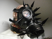 ENZIFER ...GAS MASK  BLACK GIANT SPIKES STAGE GEAR ..(MDLGM0315)