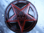 LEATHER BACKPATCH TOOLING & CARVED PENTAGRAM (black metal) LBK07