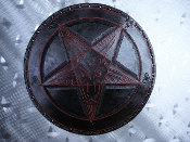 LEATHER BACKPATCH TOOLING & CARVED PENTAGRAM (black metal) LBK05
