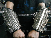 DEATHSPELL OMEGA ...LEATHER SPIKED PLATED GAUNTLET (MDLUG0037)