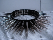 JOAN JETT ...LEATHER LONG CONE SPIKED CHOKER.  (MDLC0183)