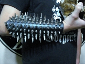 HYPOTHERMIA ...UNISEX MIXED SPIKE LEATHER GAUNTLET   (MDLUG0258)