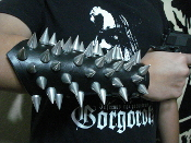 HELLFUCKED ...UNISEX BULLDOG SPIKE LEATHER GAUNTLET (MDLUG0255)