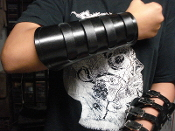 XENTRIX ...BLACK LEATHER STRAPPED VIKING GAUNTLET (MDLG0223)