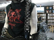 CARNIVORE ...LEATHER GIANT SPIKED GUITAR STRAP   (MDLS0055)