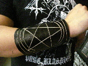 NUCLEAR DEATH ...Leather pentagram armband..(MDLG0148)