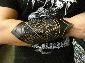 BEHEMOTH ...LEATHER BAPHOMET HAND TOOLED GAUNTLET... (MDLG0149)