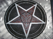LEATHER CARVED PENTAGRAM ,,(black metal)   0008