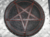 LEATHER CARVED PENTAGRAM ,,(black metal)   0013