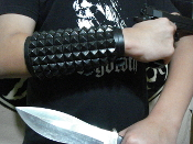 ANAL BLAST ...UNISEX STUDDED BLACK LEATHER GAUNTLET .(MDLUG0150)