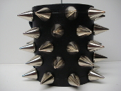 IMPALED'S ...LEATHER CONE BULLDOG SPIKE BRACELET  (MDLB0214)