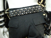 CANCER ...LEATHER MIXED OLD SCHOOL STUDDED BELT.....(MDLSB0277)