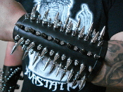 HELLHAMMER ...MIXED SPIKED LEATHER GAUNTLET (MDLG0015)