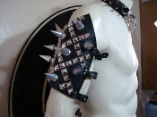 SARKE ...LEATHER GIANT SPIKES AND STUDS ARMBAND ...(MDLA0306)