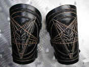 SETHERIAL ...LEATHER BAPHOMET HAND TOOLED GAUNTLET(MDLG0329)