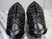 INSENGARD  ...LEATHER SATANIC HAND TOOLED GAUNTLETS..(MDLG0330)
