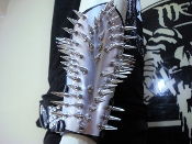 NERVOSA  ...UNISEX SPIKED PLATED LEATHER GAUNTLET (MDLUG0358)