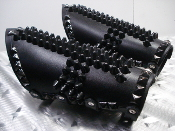 ABIGOR ...LEATHER STUDDED GAUNTLET UPSIDE DOWN CROSS  (MDLG0321)