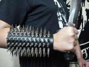 RAGNAROK ...UNISEX LEATHER SPIKED GAUNTLET ...(MDLUG0043)