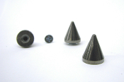 "BUER ...Metallic Black Bulldog Cone Spike 19mm (3/4"") Bag of 20"